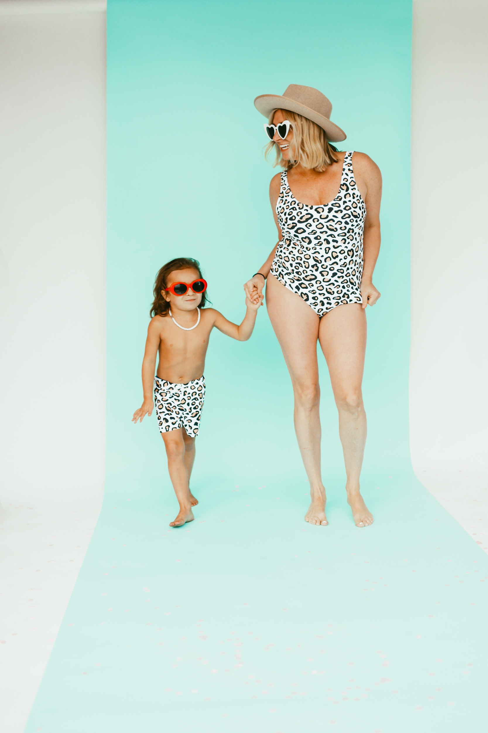 mom and son in swimwear