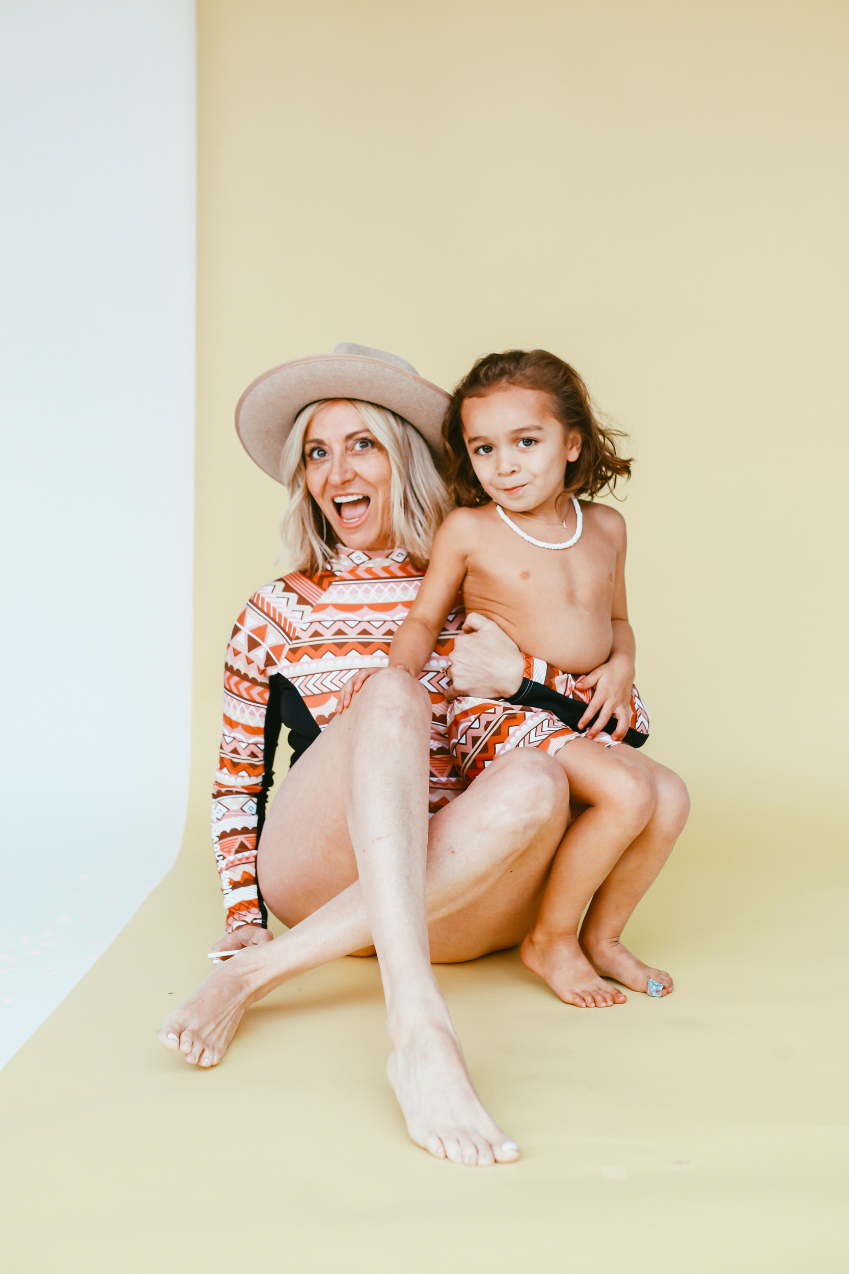 mom and child in matching swimwear