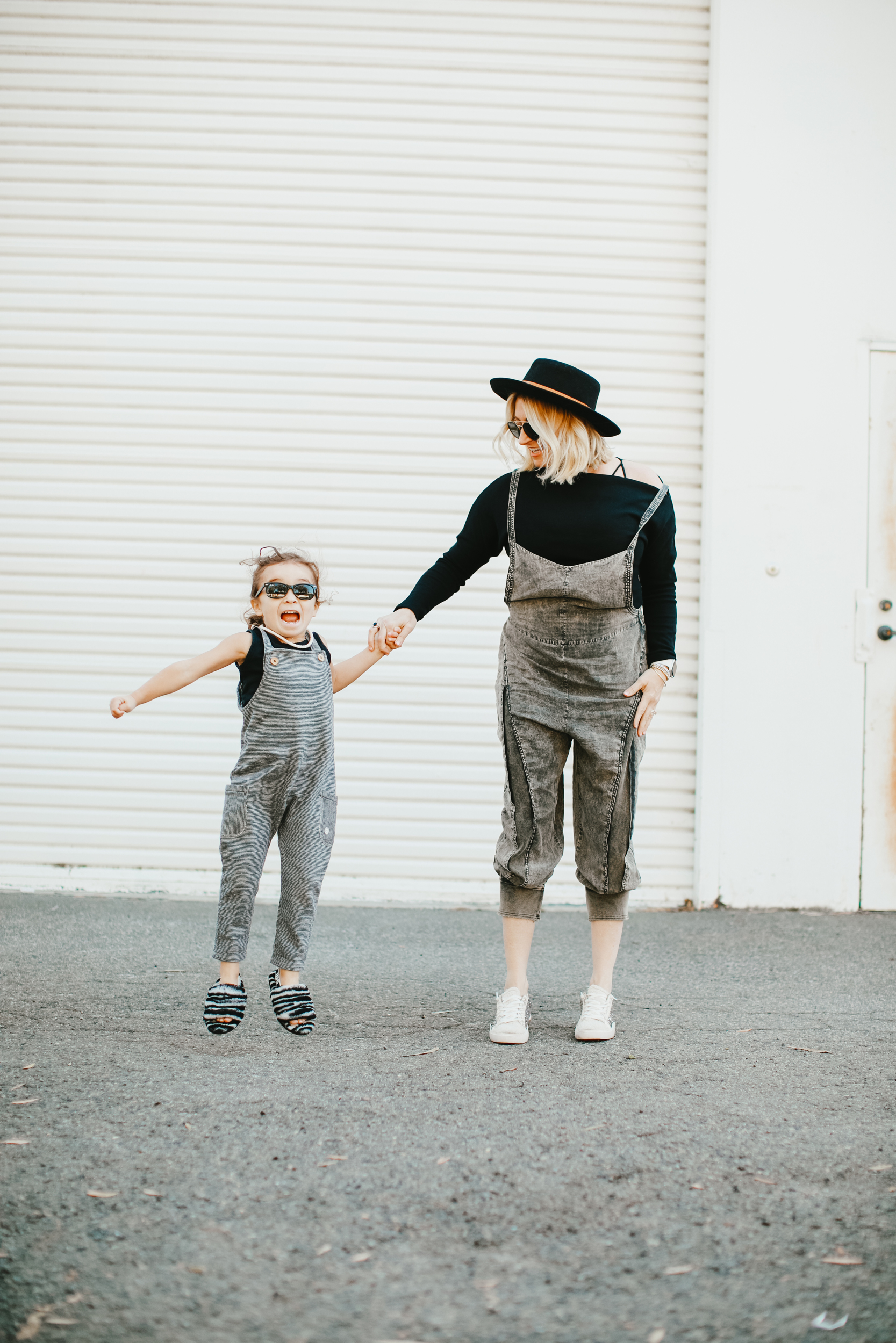 mom and jumping child