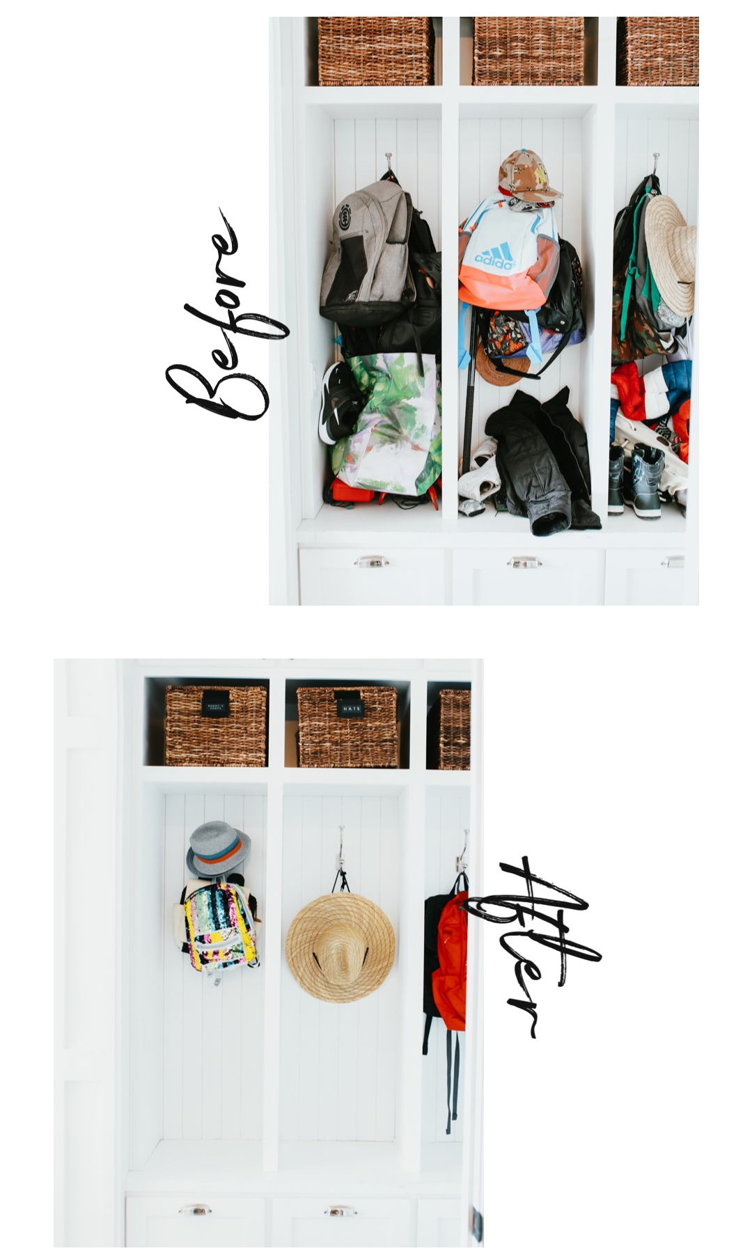 before and after mudroom