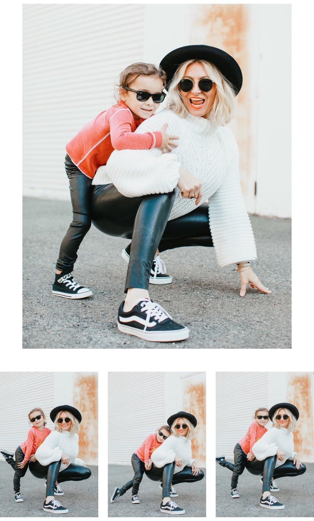 mom and kid posing fashion shots