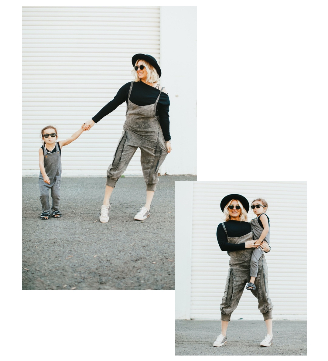 fashionable mom and toddler