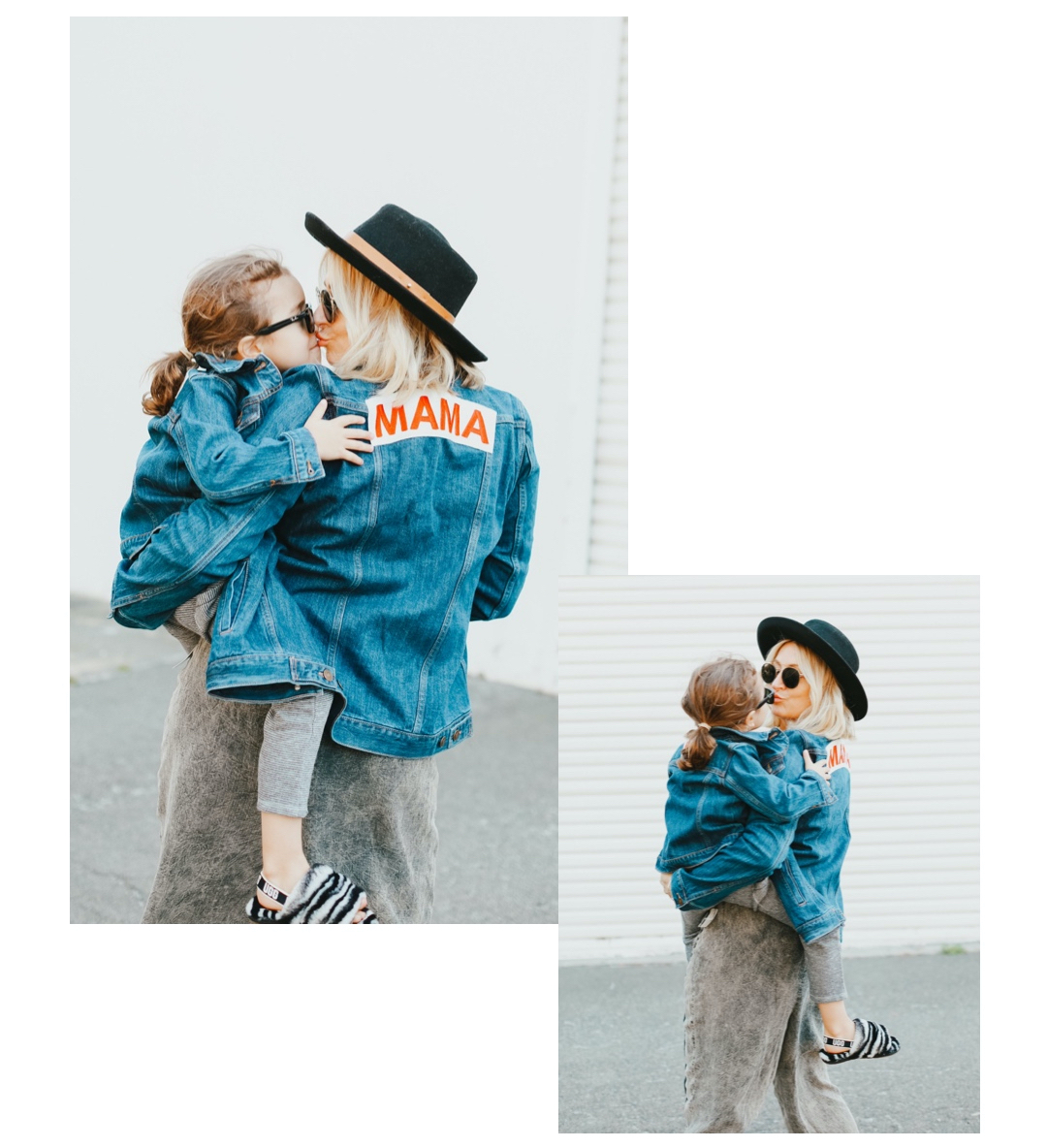 fashionable mom and baby