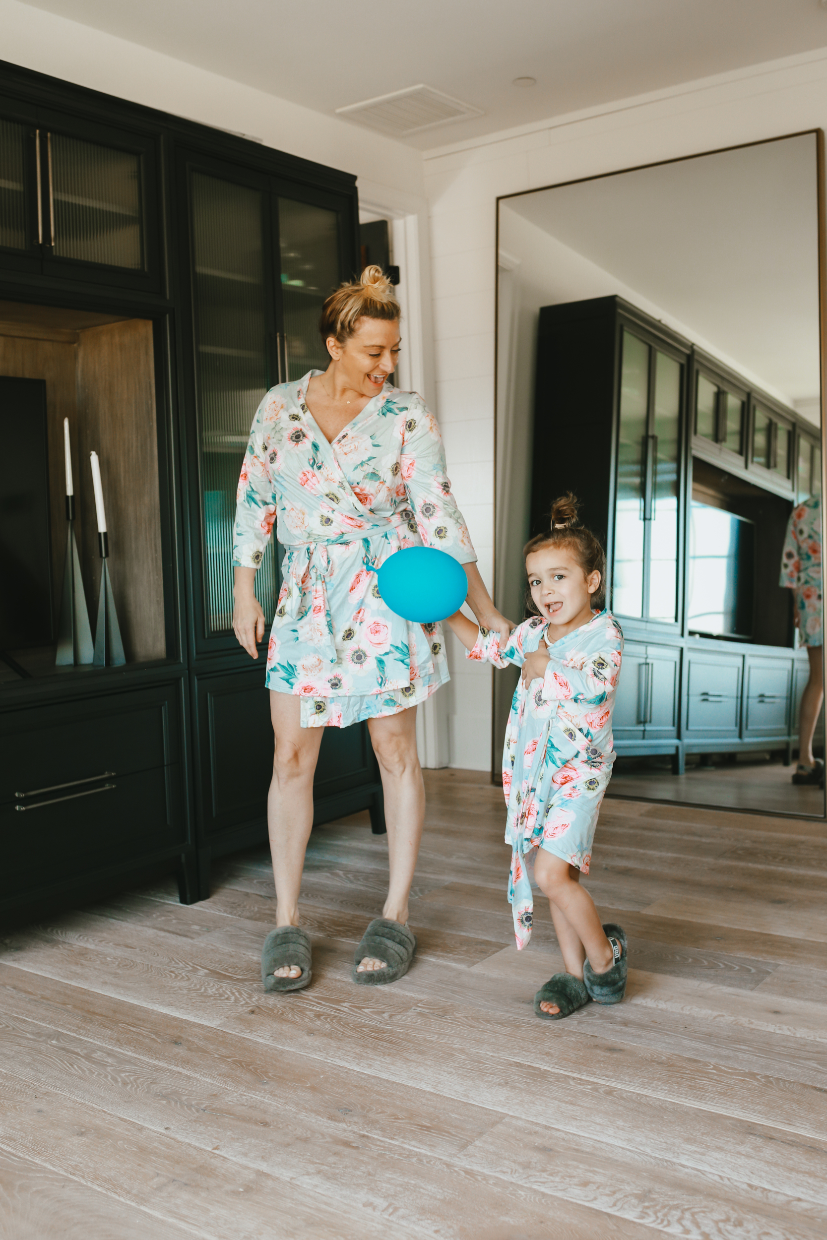 mom and child in loungewear