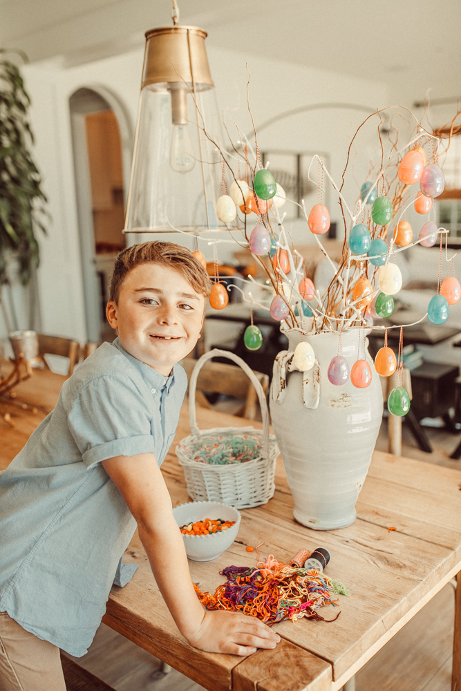 decorating an easter egg tree