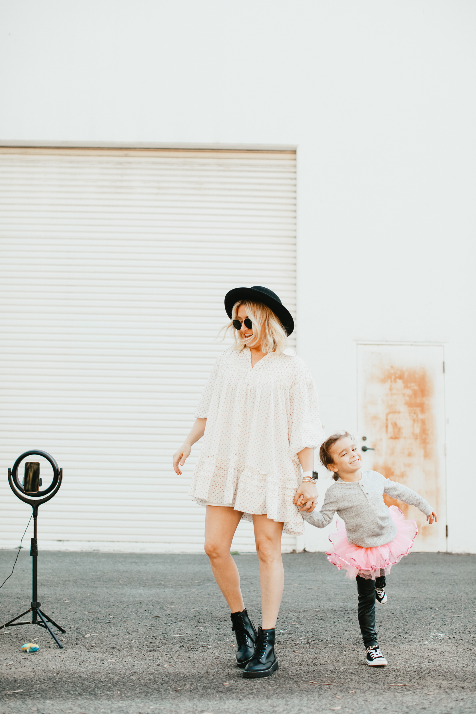 mom walking with her kid