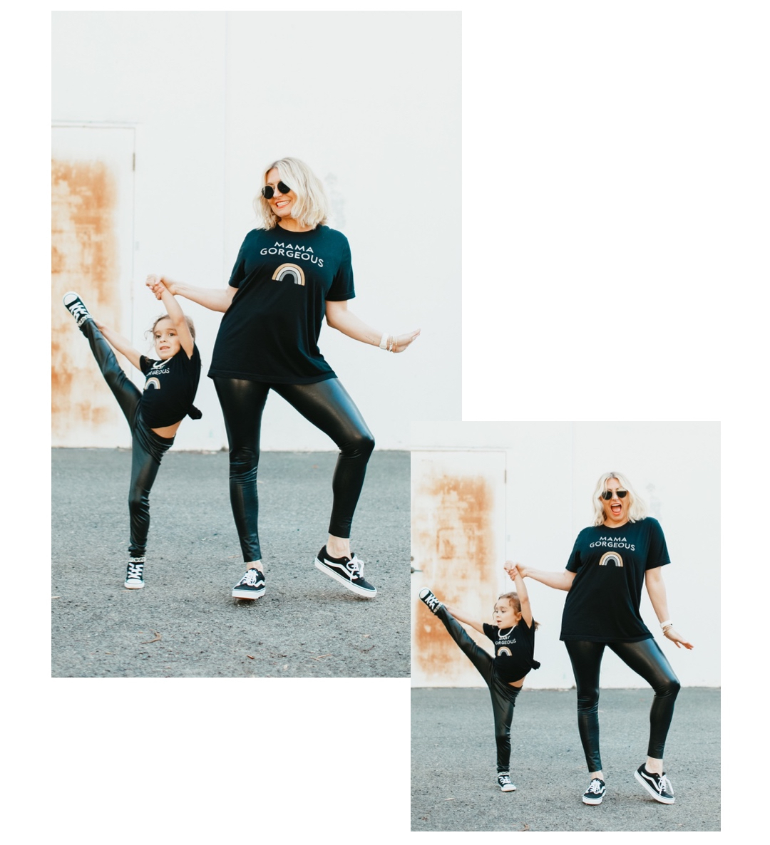 mom with dancing toddler