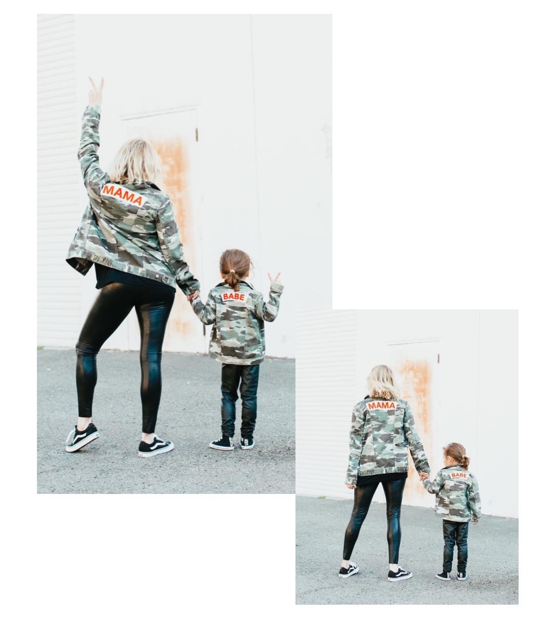 mom and toddler walking away