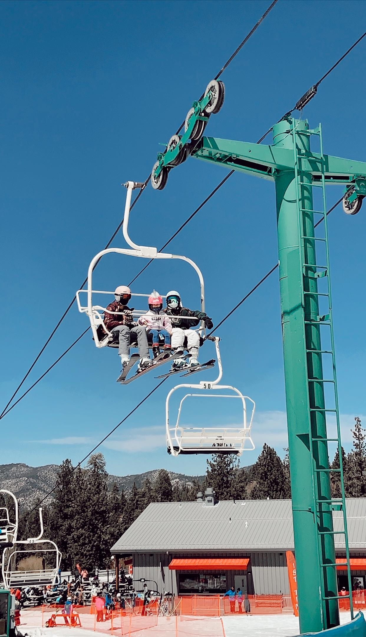 kids on ski lift