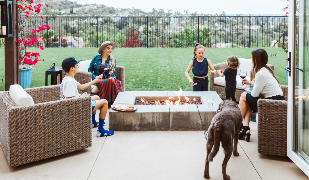 family in backyard patio