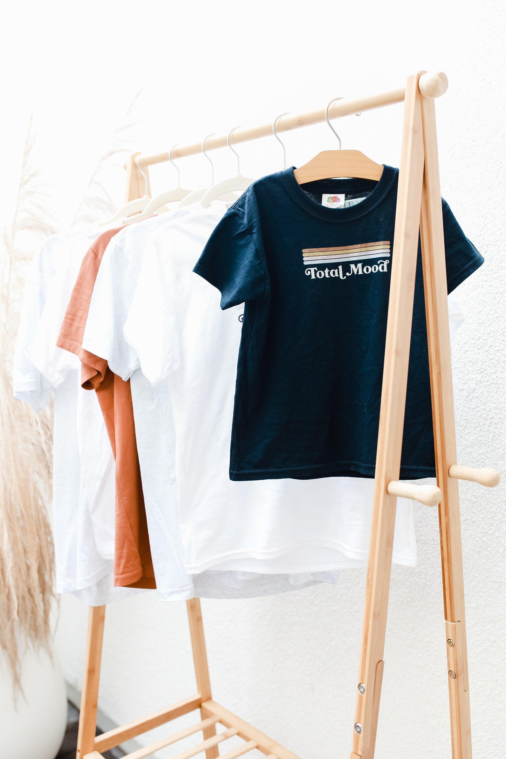 tshirts on a rack