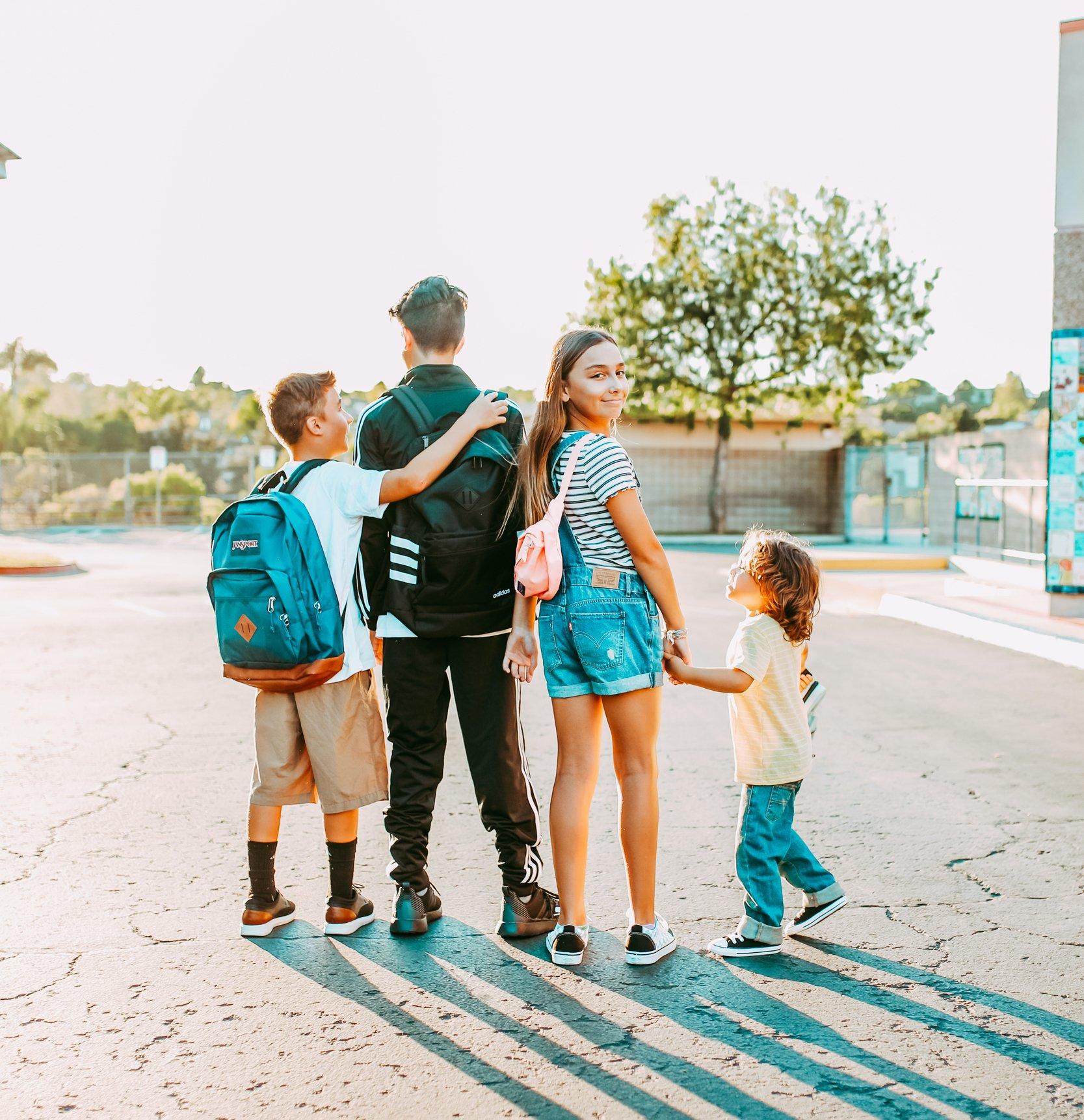 kids in parking lot