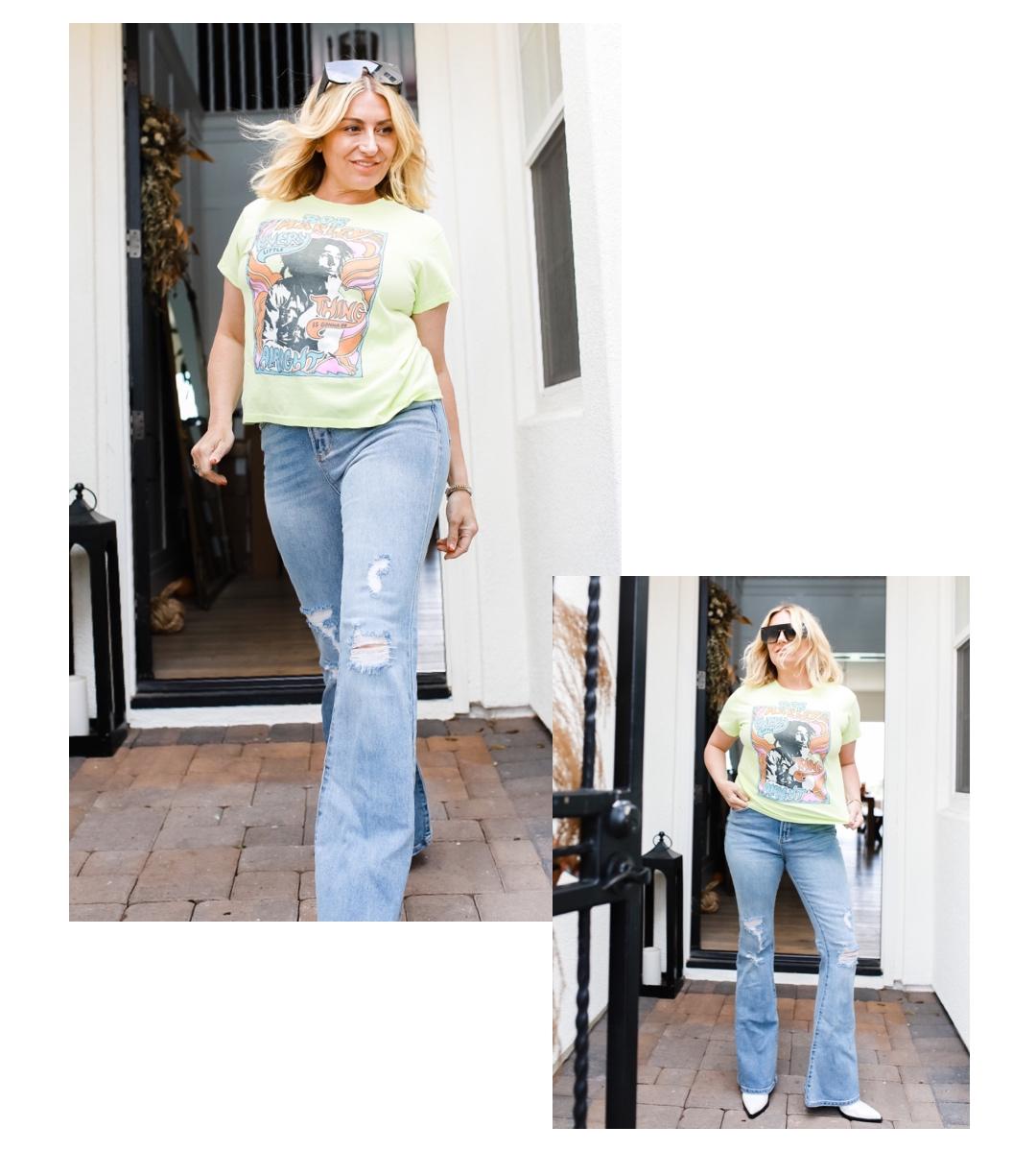 woman walking in jeans