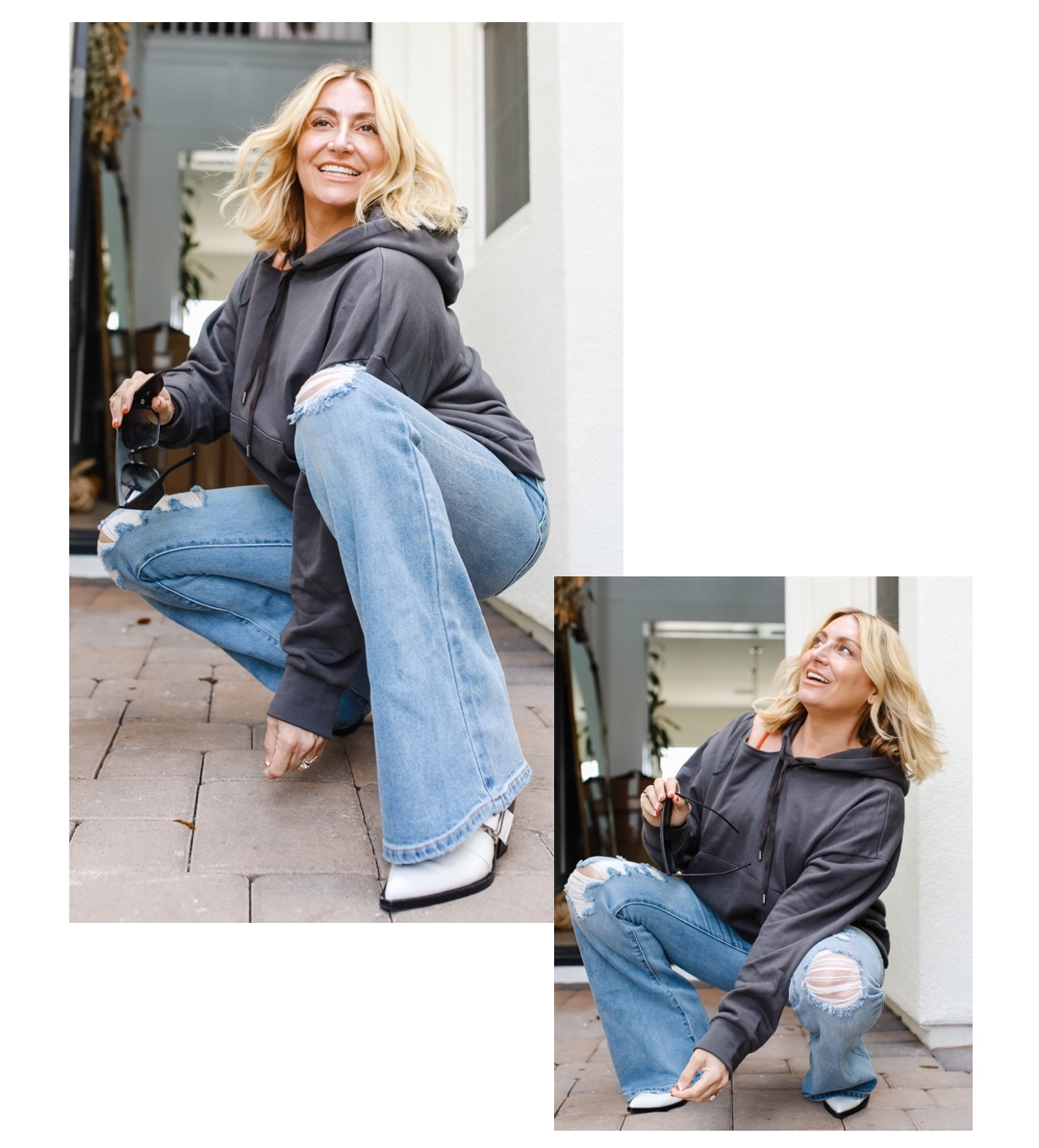 woman squatting in jeans