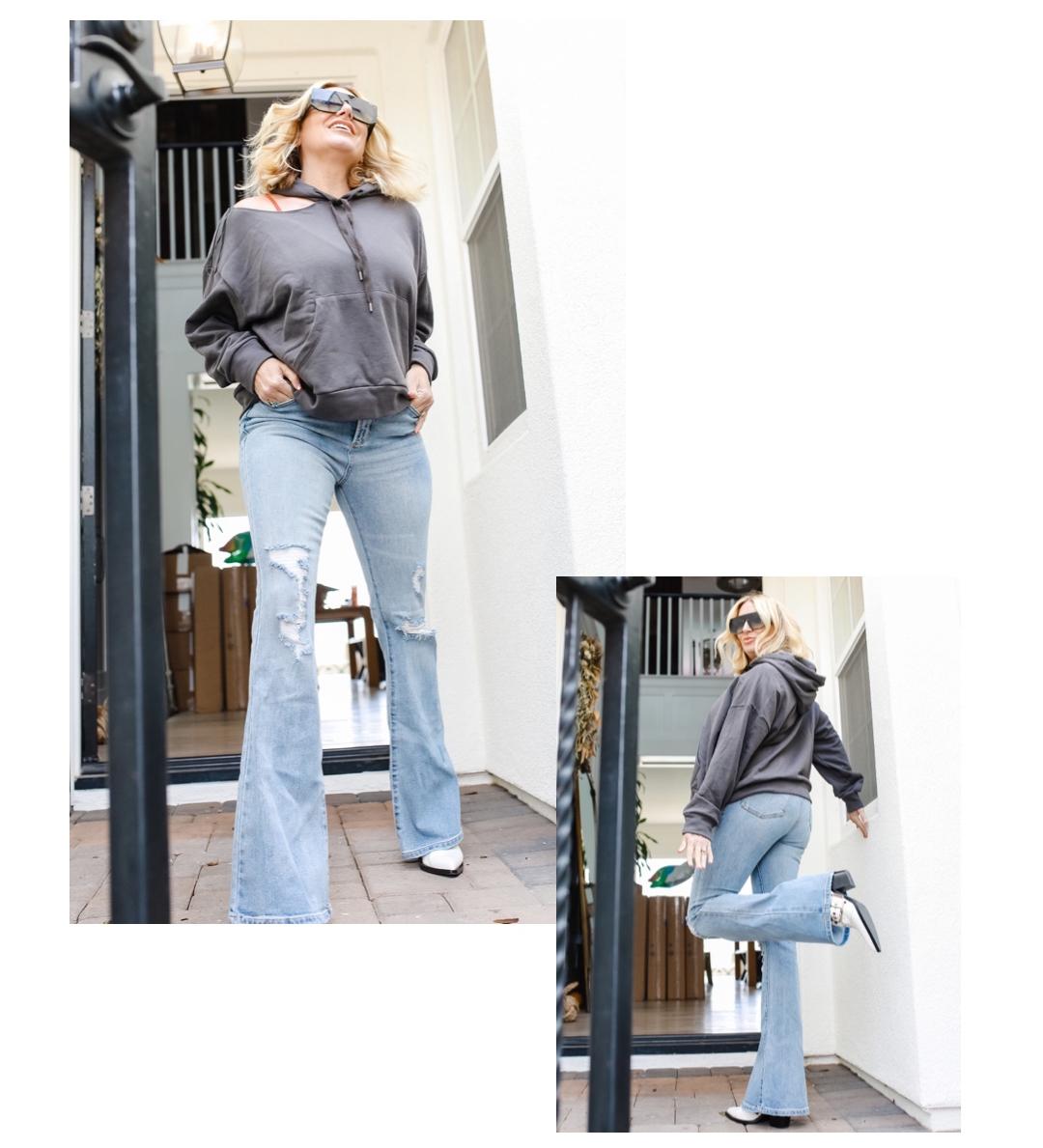 woman posing in jeans