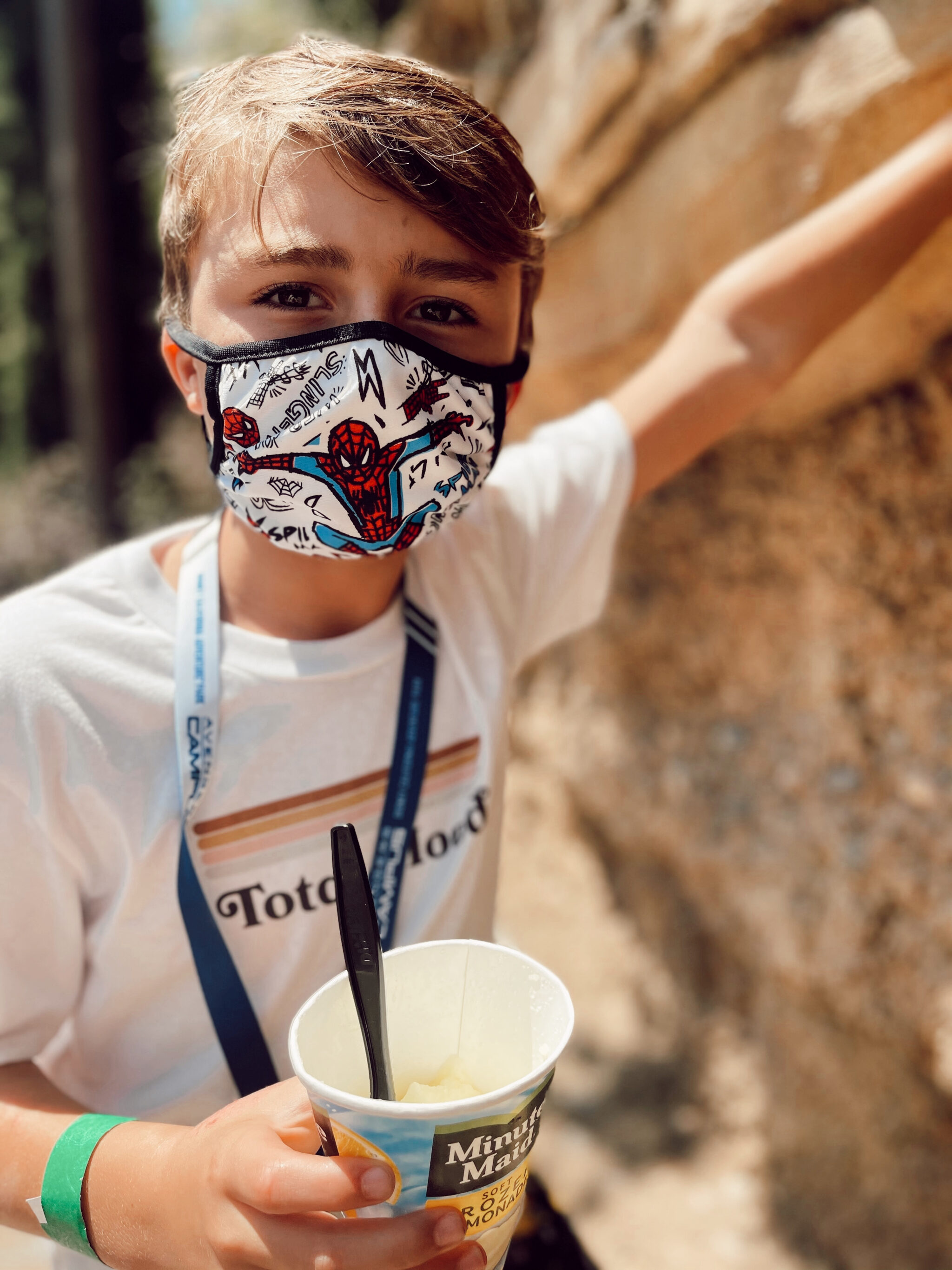 boy with spiderman mask