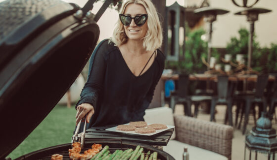 woman grilling outdoors