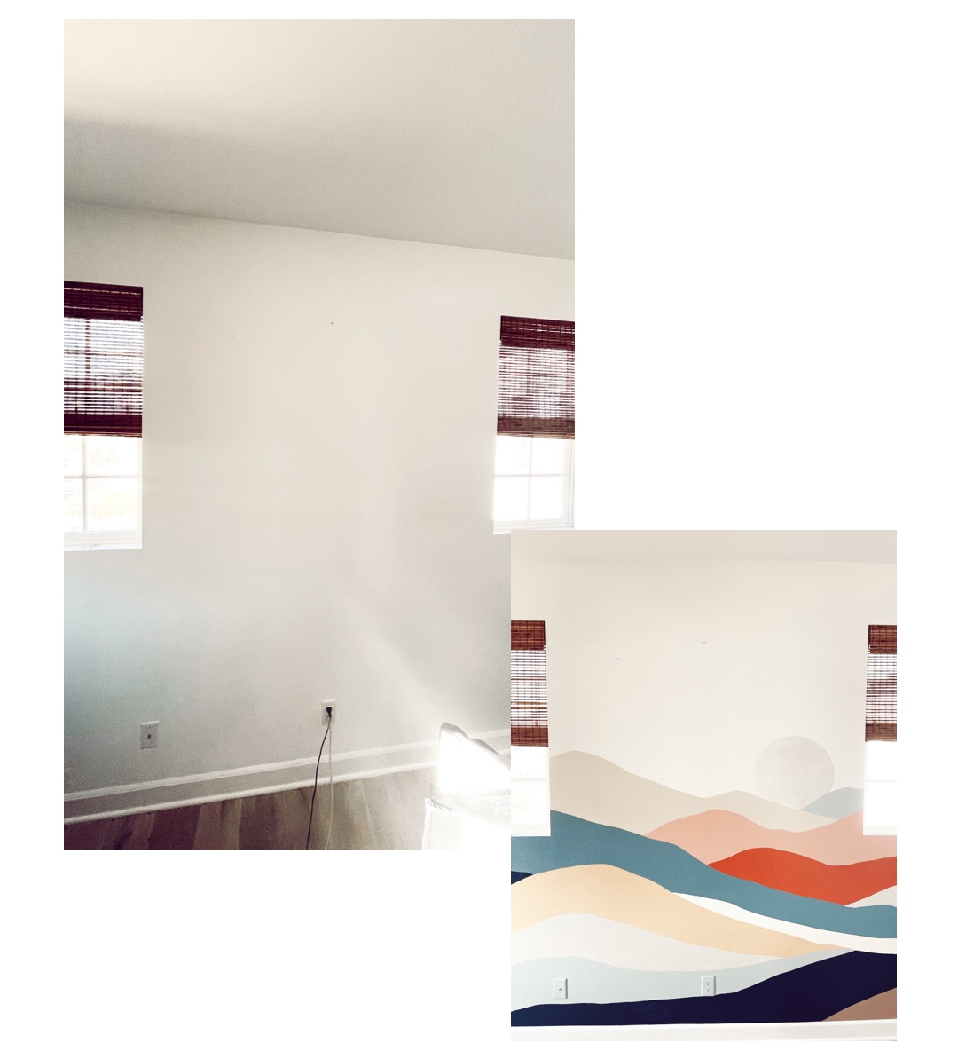 before and after bedroom mural