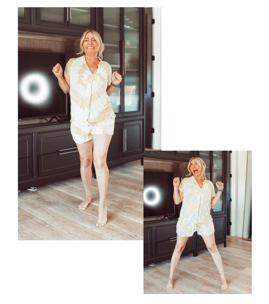 woman dancing in pajamas