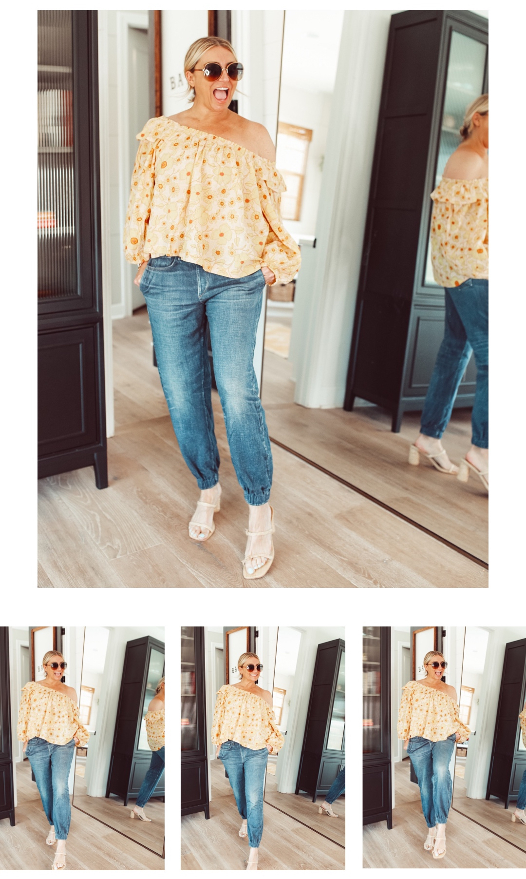 happy woman posing in jeans