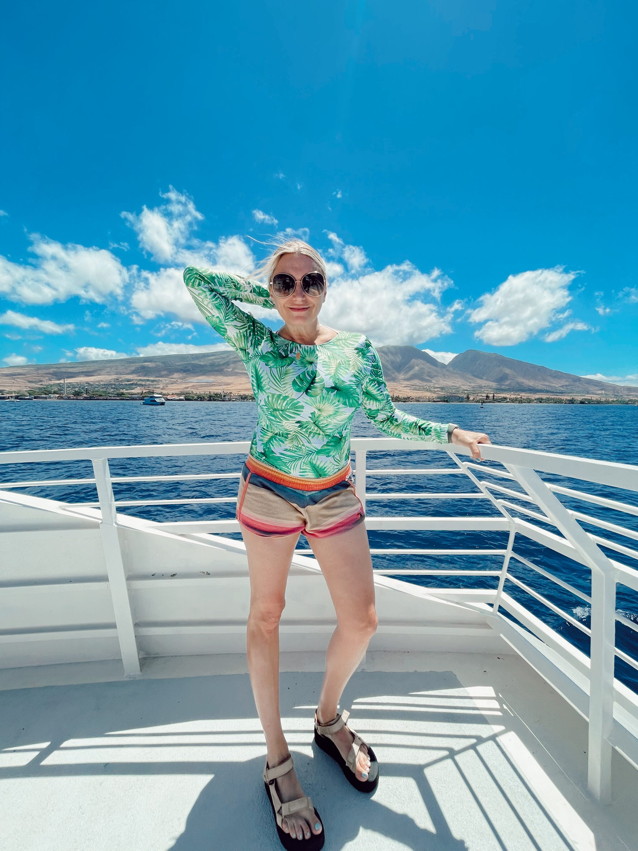 woman on boat in maui