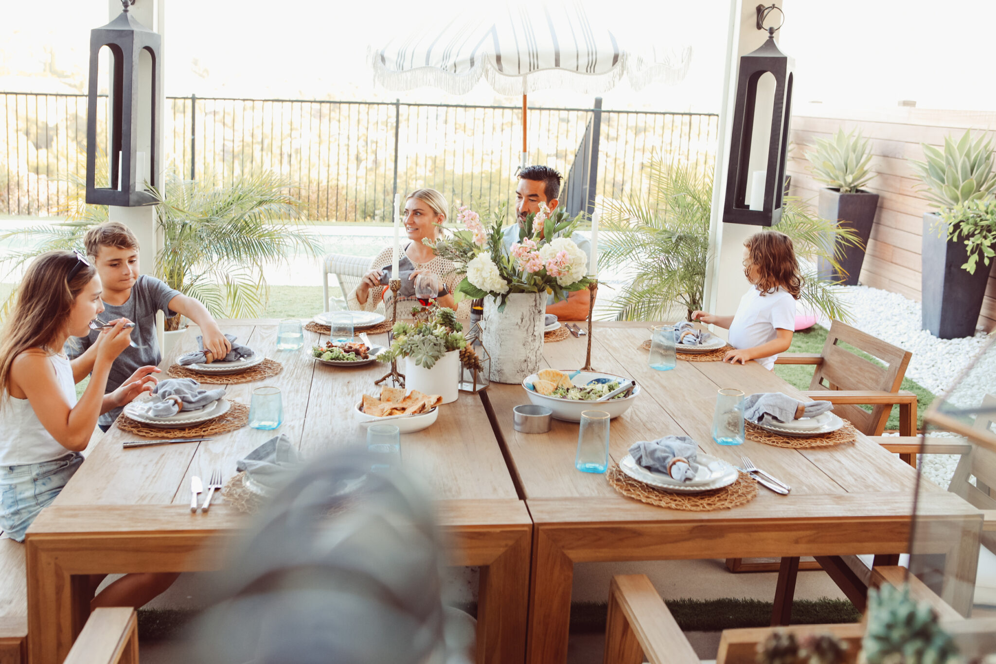 family on outdoor patio