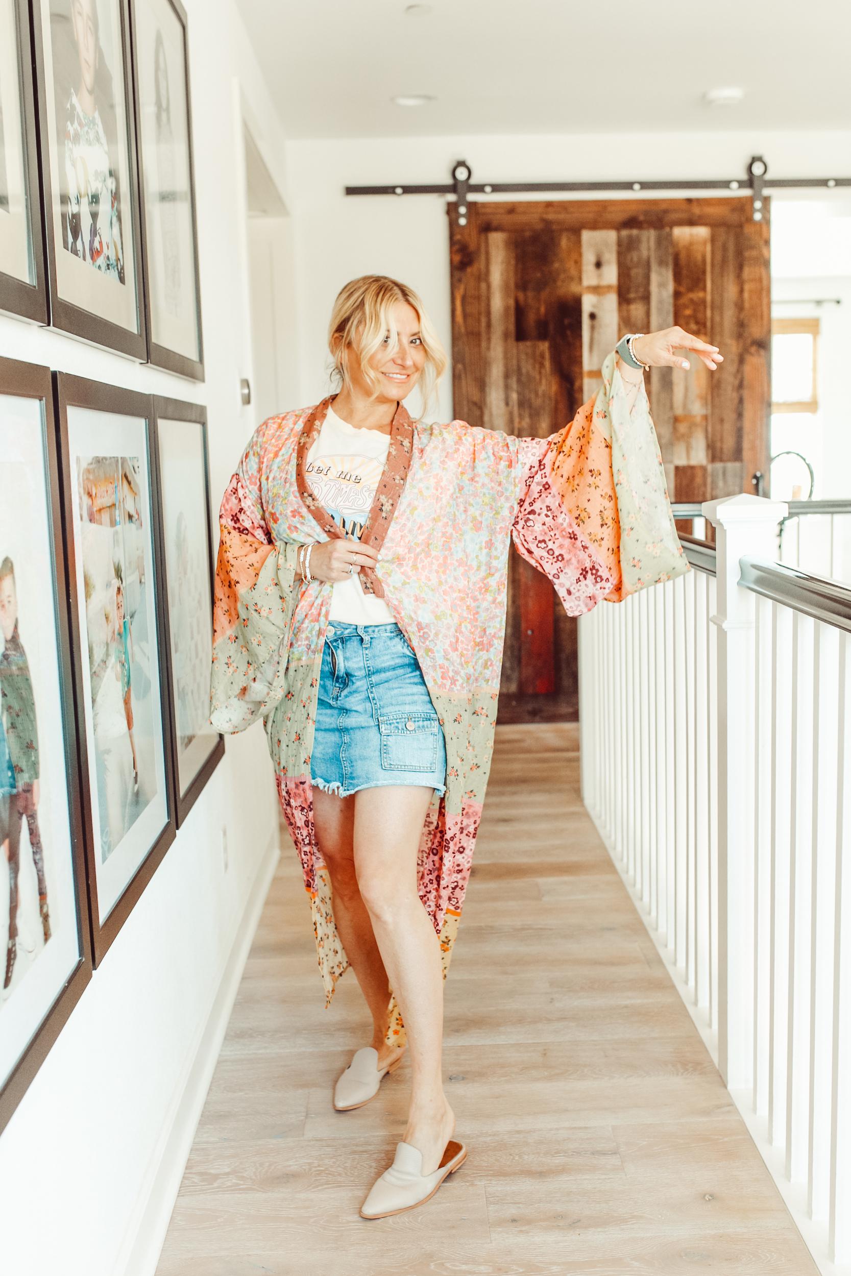 woman posing in kimono