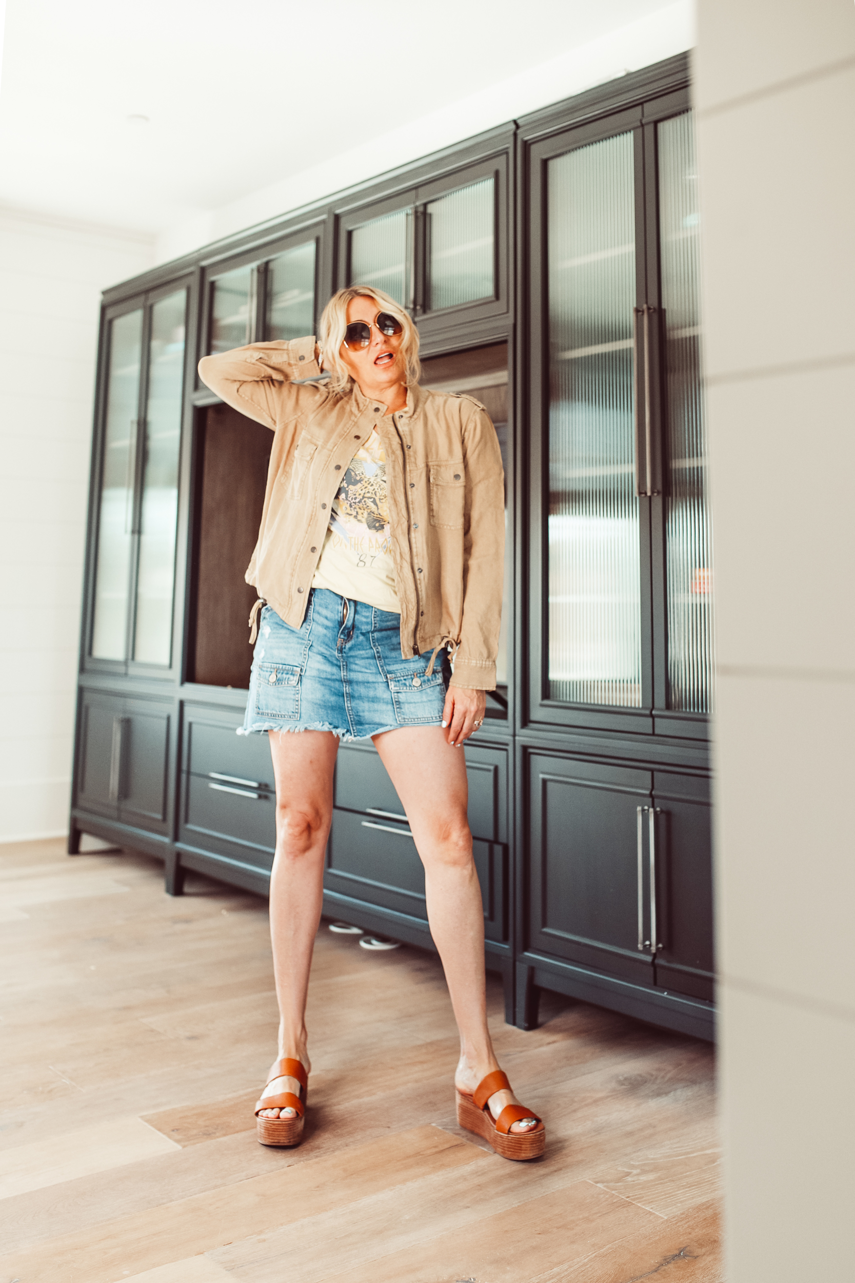 cool woman in stylish outfit