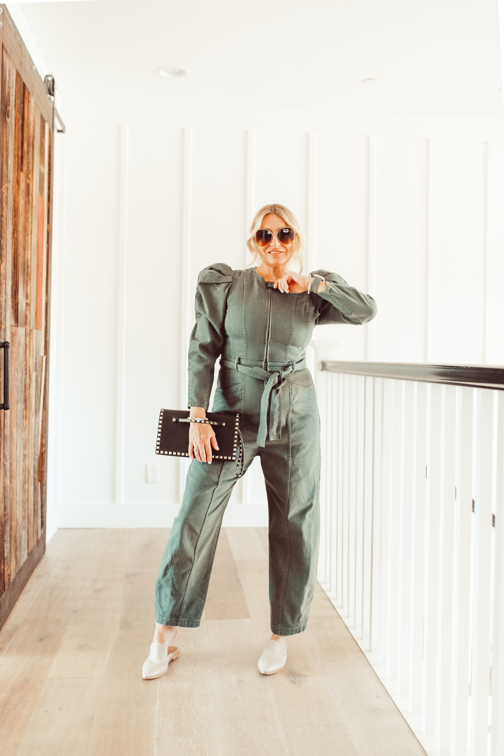 stylish woman in jumpsuit
