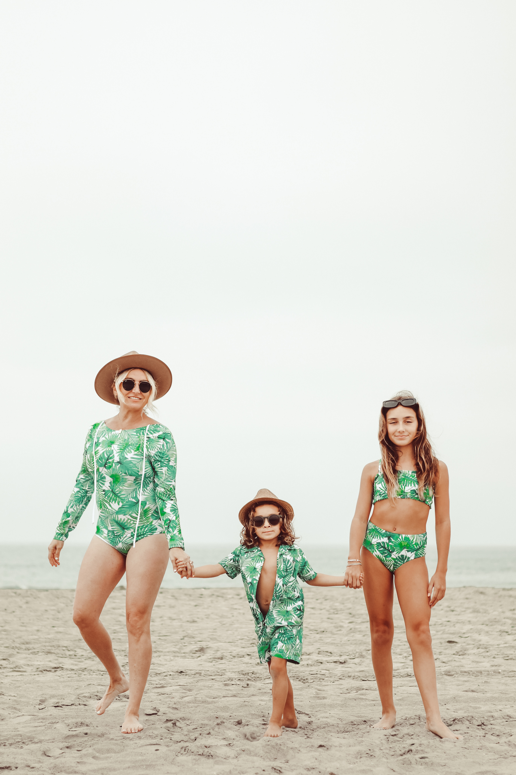 mom and her kids at the beach