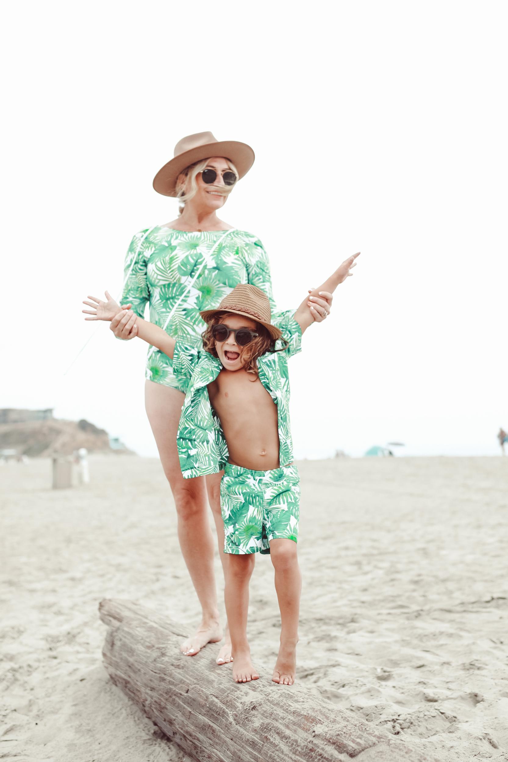 mom and son in summer swimwear