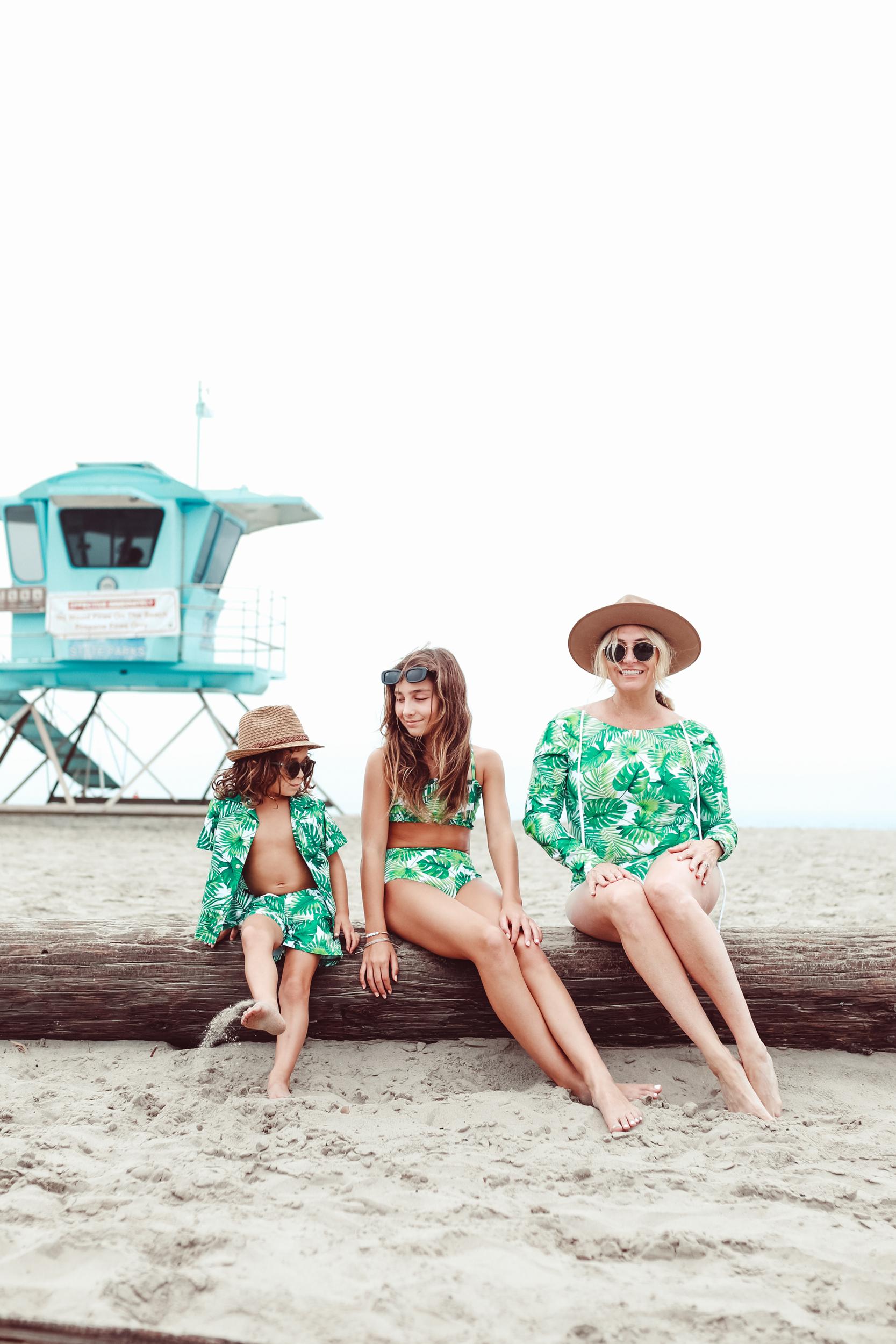 mom and kids in matching summer swimwear