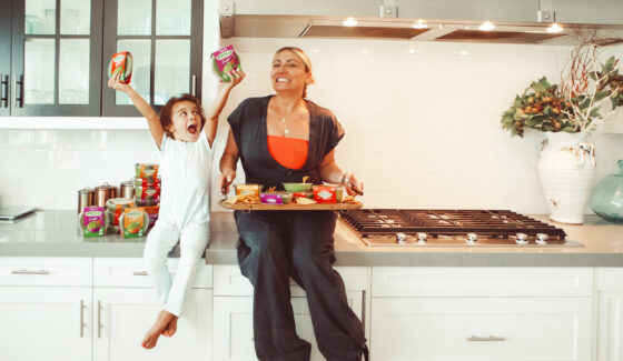 mom and toddler in kitchen