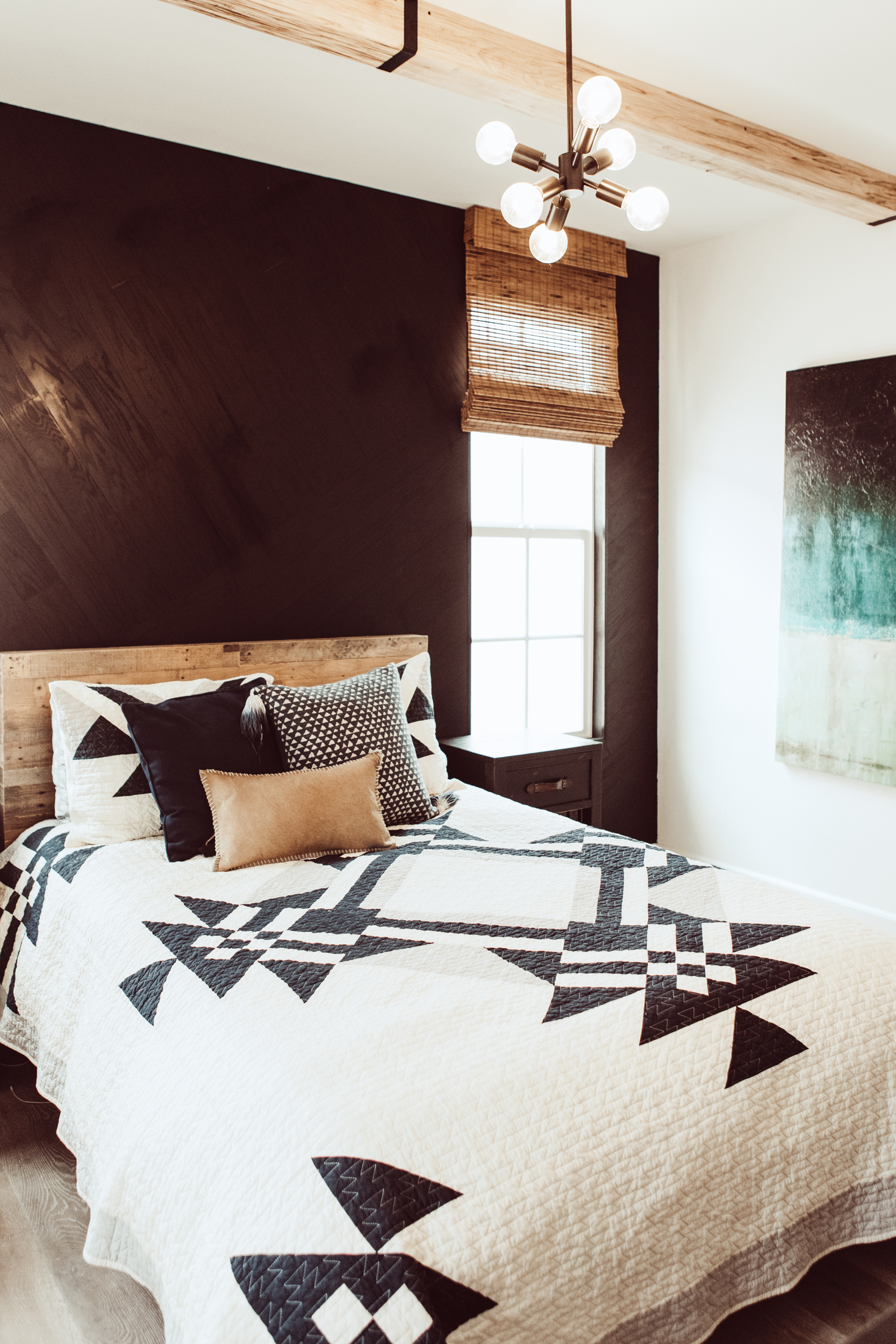 kids bedroom with feature wall