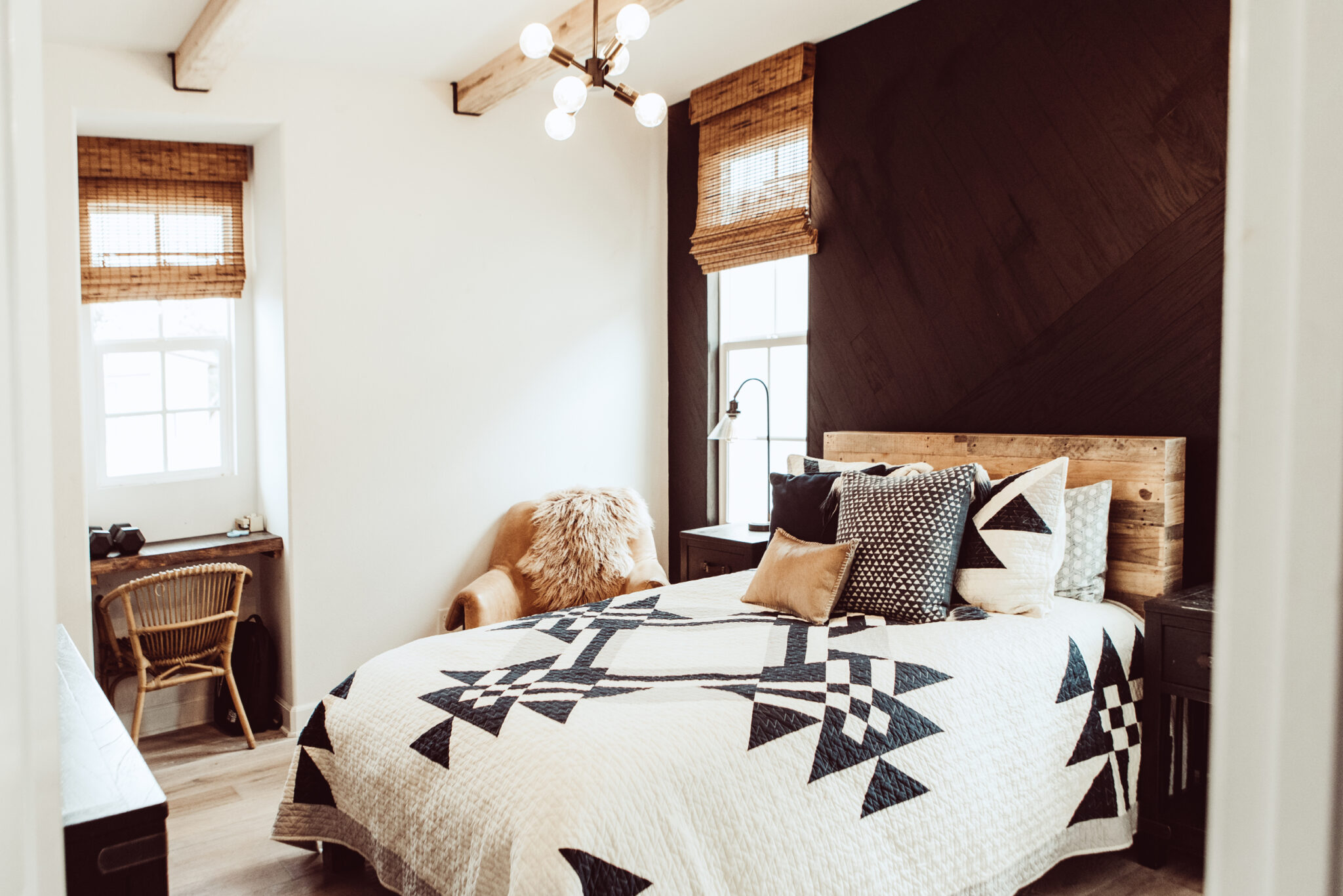 bedroom with stikwood feature wall